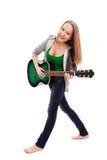 Piękna dziewczyna z gitarą na białym tle Obrazy Royalty Free