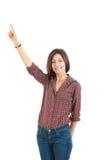 Młodego z podnieceniem kobieta punktu palcowy seans coś up stronę zdjęcia stock