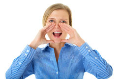 Młodej blondynki żeński krzyk, odosobniony obraz stock