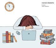 Młodej dziewczyny kobieta kłaść jej kierowniczego puszek na stole Sfrustowany, skołowany, śpiący, zmęczony praca Laptop, komputer royalty ilustracja