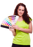 Młodej dziewczyny mienia koloru swatch fotografia stock