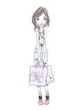 Młodej dziewczyny mienia torba na zakupy w rękach Pociągany ręcznie nakreślenie Wektorowa ilustracja na białym tle, Zdjęcie Stock