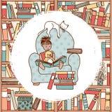 Młodej dziewczyny obsiadanie w karle, czyta książkę ilustracji