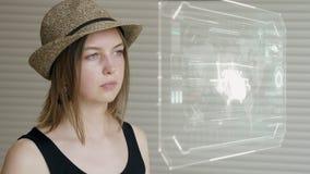 Młodej dziewczyny prasa na futurystycznym interfejsu użytkownika pojęcia ekranie Graficzny interfejs użytkownika - GUI Głowa up p zbiory wideo