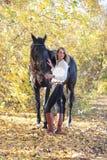 Młodej equestrian kobiety chodzący koń w jesień parku obraz stock