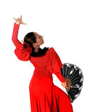 Młodej Hiszpańskiej kobiety dancingowy flamenco w typowej ludowej czerwieni sukni Zdjęcia Royalty Free