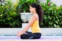 Młodej kobiety ćwiczy joga w lotosowej pozyci outdoors Obraz Stock