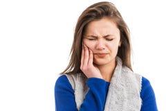 Młodej kobiety cierpienia zębu obolałość obraz stock
