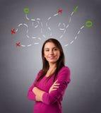 Młodej kobiety główkowanie z abstraktem zaznacza koszt stały Zdjęcie Royalty Free