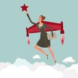 Młodej kobiety latanie z rakietą bierze chwyt gwiazda Biznesowy przyrost i zaczyna up pojęcie Obraz Royalty Free
