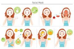 Młodej Kobiety maska Jej twarz Z Naturalną Twarzową maską, jogurtem I owoc, ilustracji