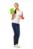 Młodej kobiety mienia książki Zdjęcia Stock