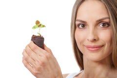 Młodej kobiety mienia roślina, coleus flanca obraz stock