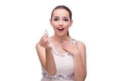 Młodej kobiety odbiorcza propozycja odizolowywająca na bielu Fotografia Stock