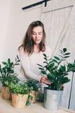 Młodej kobiety podlewania flowerpots w domu Przypadkowe styl życia serie w nowożytnym scandinavian wnętrzu Obraz Royalty Free