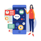 Młodej kobiety pozycja blisko wielkiego smartphone dla czytelniczej wiadomości i texting wiadomość ilustracja wektor
