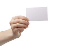 Młodej kobiety ręki seansu pusta papierowa karta kamera fotografia stock