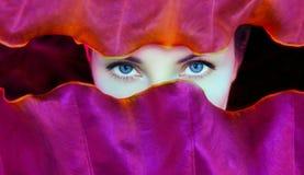 Młodej kobiety ` s twarz otaczająca tropikalnymi liśćmi fotografia royalty free