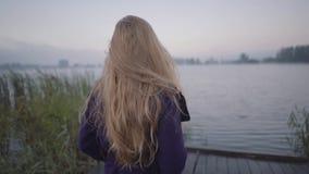 Młodej kobiety wezwania podążać ona w tle jezioro wzdłuż mola zbiory wideo