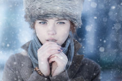 Młodej kobiety zima portret Obraz Royalty Free