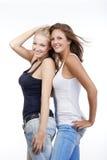 młodej szczęśliwa dwa kobiety obrazy stock