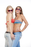 młodej szczęśliwa dwa kobiety zdjęcie stock