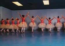 Młodość Baletniczy tancerze Wykonuje próbę w Czerwonym i Białym spódniczki baletnicy ` s zdjęcia stock