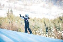 Młodości narciarstwo w górach Carpathians Obraz Stock