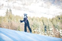 Młodości narciarstwo w górach Carpathians Obraz Royalty Free
