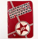 Młodości Socjalistyczny Carnet Euskadi spanish cywilna wojna obraz stock