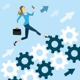 Młody ładny biznesowej kobiety bieg na przekładniach sukces ilustracji