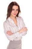 Młody ładny bizneswoman z ręką składającą Pełny wzrosta portret obrazy royalty free
