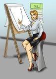 Młody ładny dziewczyny obsiadanie i robić prezentacja ilustracji