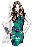 Młody ładny moda model w Paryż ilustracji