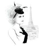 Młody ładny moda model w Paryż ilustracja wektor