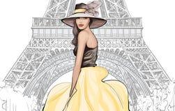 Młody ładny moda model z kapeluszem w Paryż ilustracja wektor
