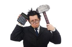 Młody śmieszny pracownik z kalkulatorem i młotem zdjęcia royalty free