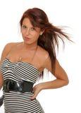 Młody żeński suszarniczy włosy zdjęcia stock