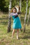 Młody żeński szaman w drewnach Obraz Stock