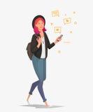 Młody żeński uczeń z telefonem komunikuje w ogólnospołecznych sieciach ilustracja wektor