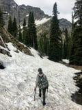 Młody żeński wycieczkowicz żegluje lasy, skalistej góry teren i śnieg, zakrywał doliny Skaliste góry obraz stock