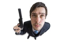 Młody agent lub morderca z pistoletem z silencer w ręce pojedynczy białe tło na widok Obraz Royalty Free