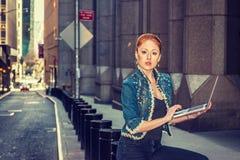 Młody Amerykański bizneswomanu podróżować, pracuje w Nowy Jork obrazy royalty free