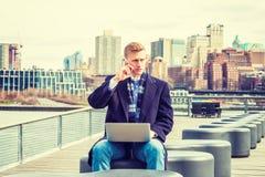 Młody Amerykański student collegu podróżuje, studiujący w Nowy Jork Obraz Royalty Free
