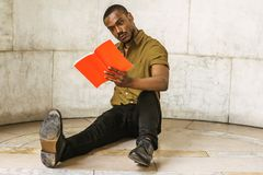 Młody amerykanina afrykańskiego pochodzenia mężczyzna z brody studiowaniem w Nowy Jork Zdjęcie Stock