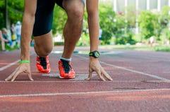 Młody atlety czekanie dla początku rasa Obraz Stock