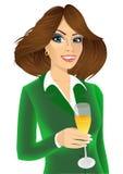 Młody atrakcyjny bizneswoman wznosi toast z szkłem szampan Zdjęcie Royalty Free