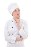 Młody atrakcyjny kobieta szefa kuchni marzyć odizolowywam na bielu Zdjęcia Stock