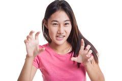 Młody azjata z strasznym ręka gestem Zdjęcie Stock