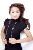 Młody Azjatycki Amerykański Kobiety TARGET299_0_ Biały Podłoga zdjęcia royalty free